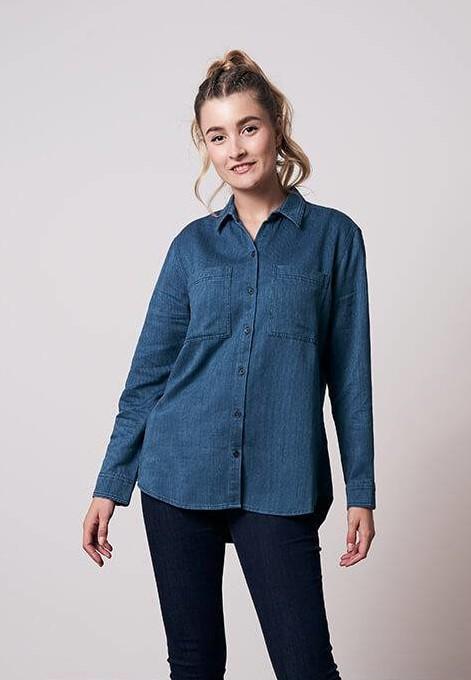 New Worker Hemp Shirt Ladies Blue
