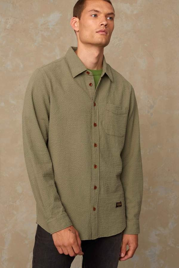 ENDA POCKET SEERSUCKER LODEN GREEN