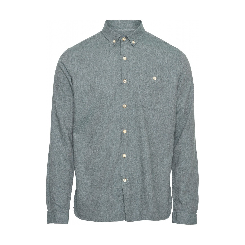 Melange Effect Flannel Shirt - Vegan Green Forest