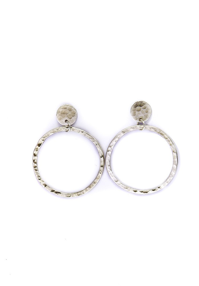 Circle Drop Earrings Silver