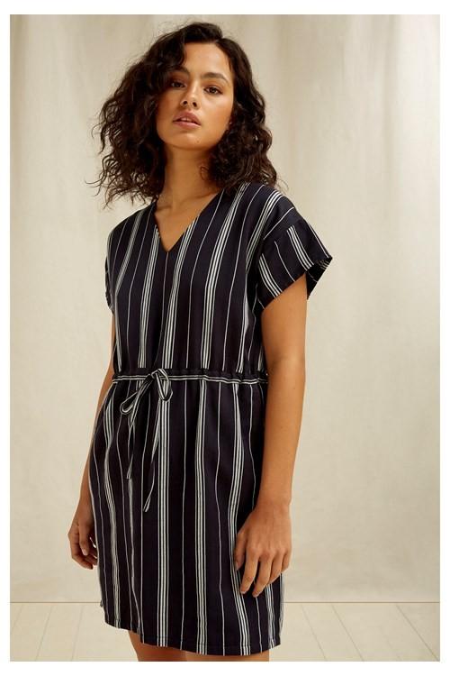 Tess Stripe Dress Navy