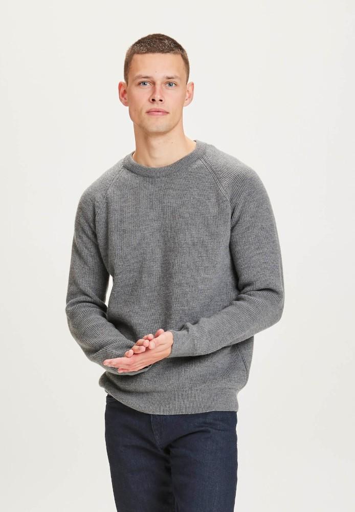 VALLEY O-neck merino wool rib knit Dark Grey Melange