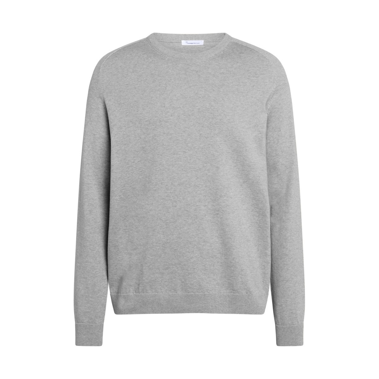 FIELD O-neck long stable cotton knit Grey Melange