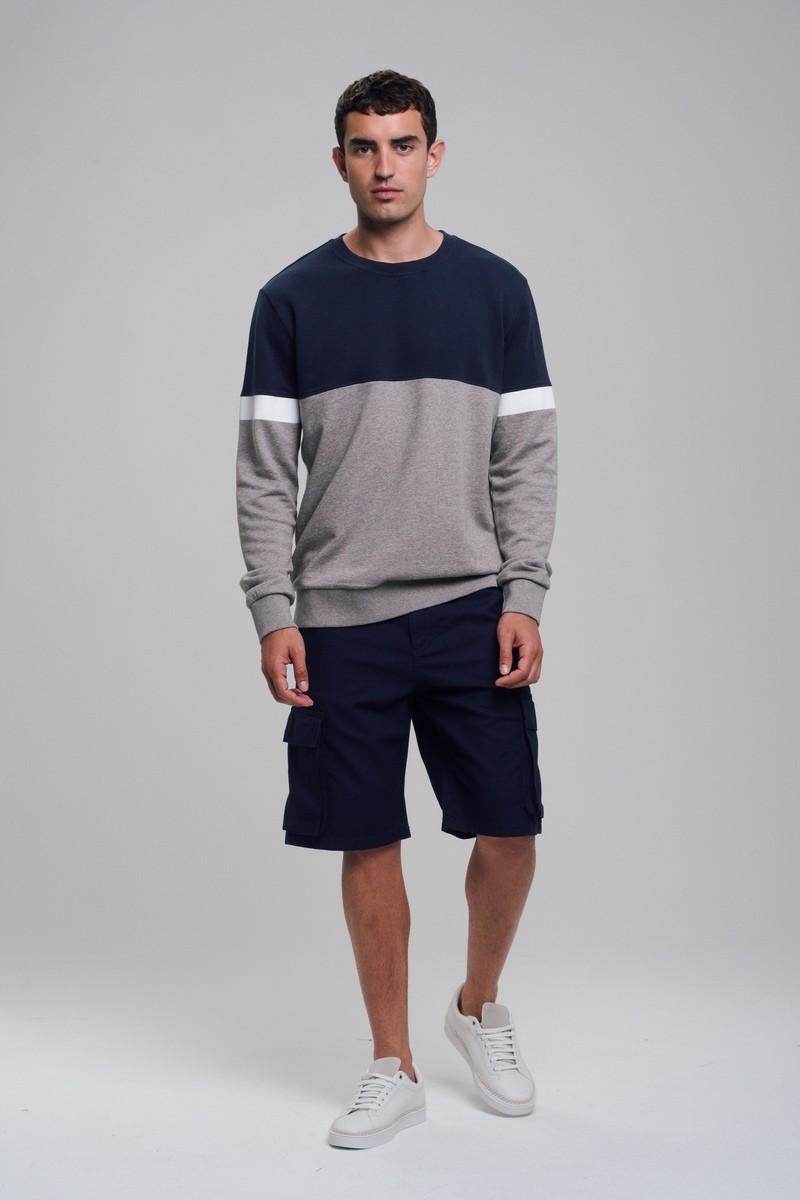 Männer Sweatshirt BLOCK navy / grey mélange