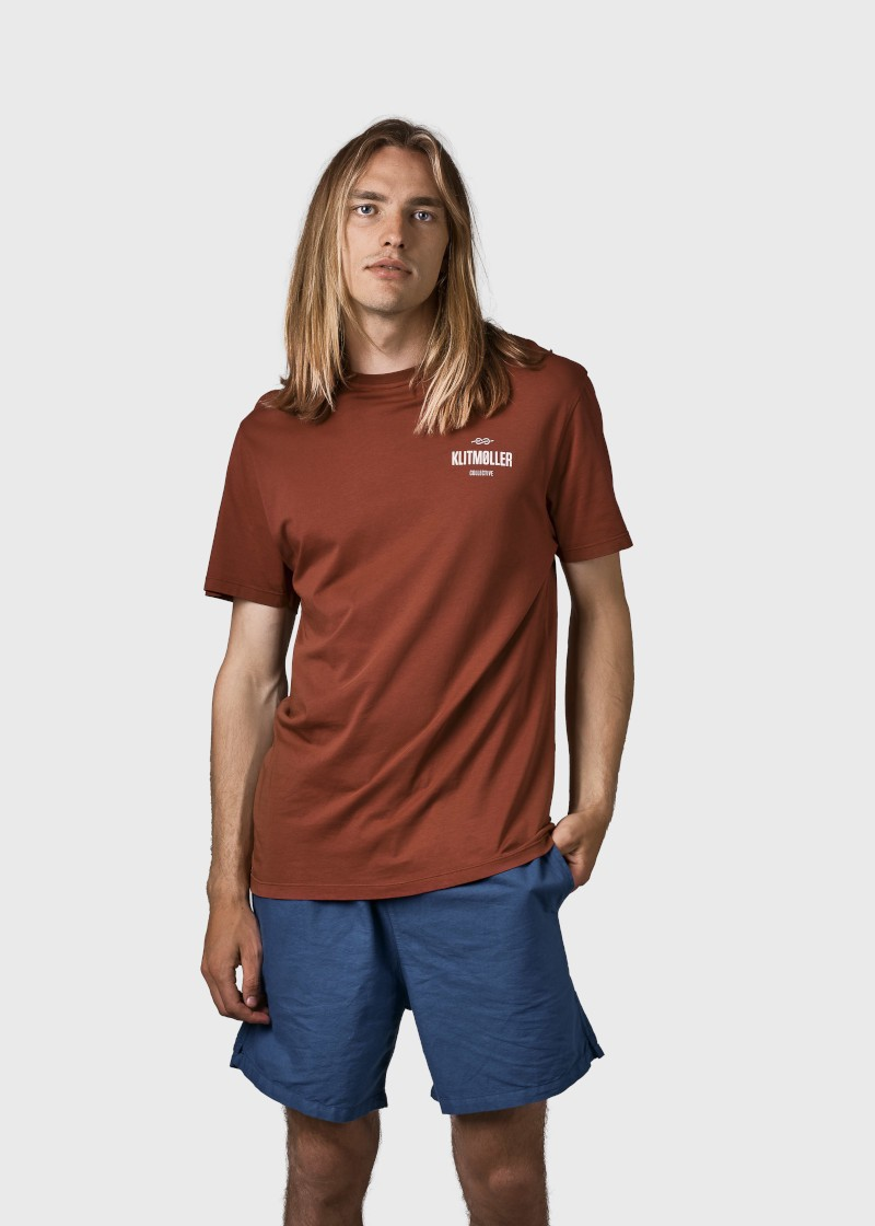 Mens small logo tee Clay red