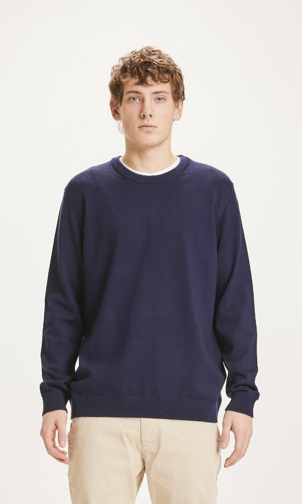 FORREST O-neck merino wool plain knit Total Eclipse