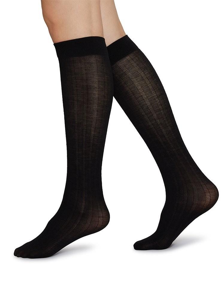 Freja Rib Wool Knee-High black