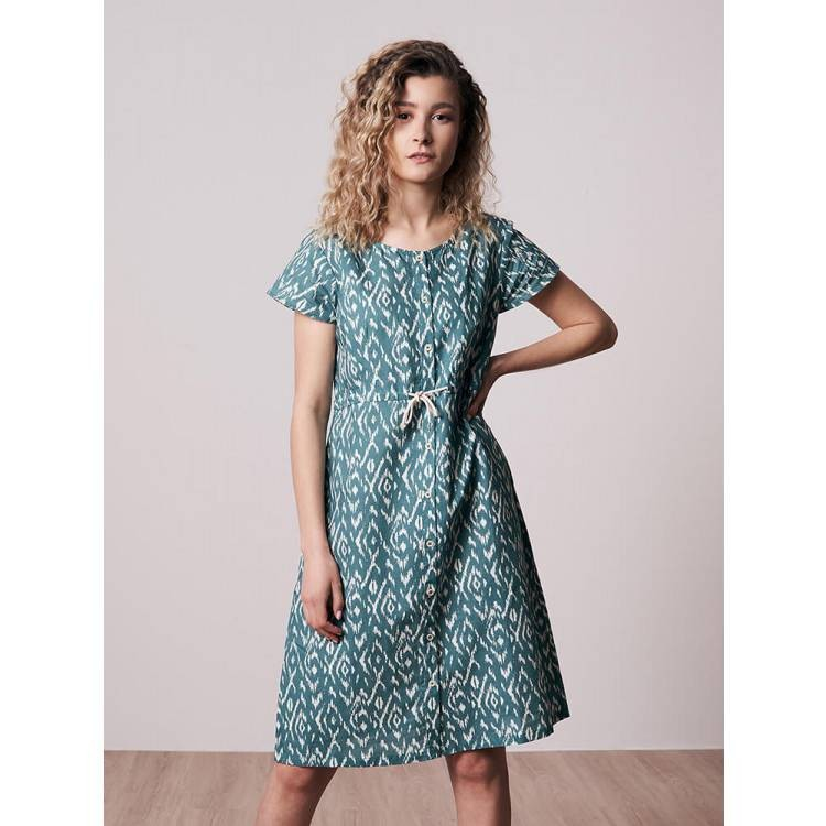 Ikatty Linen Kleid Damen Blau