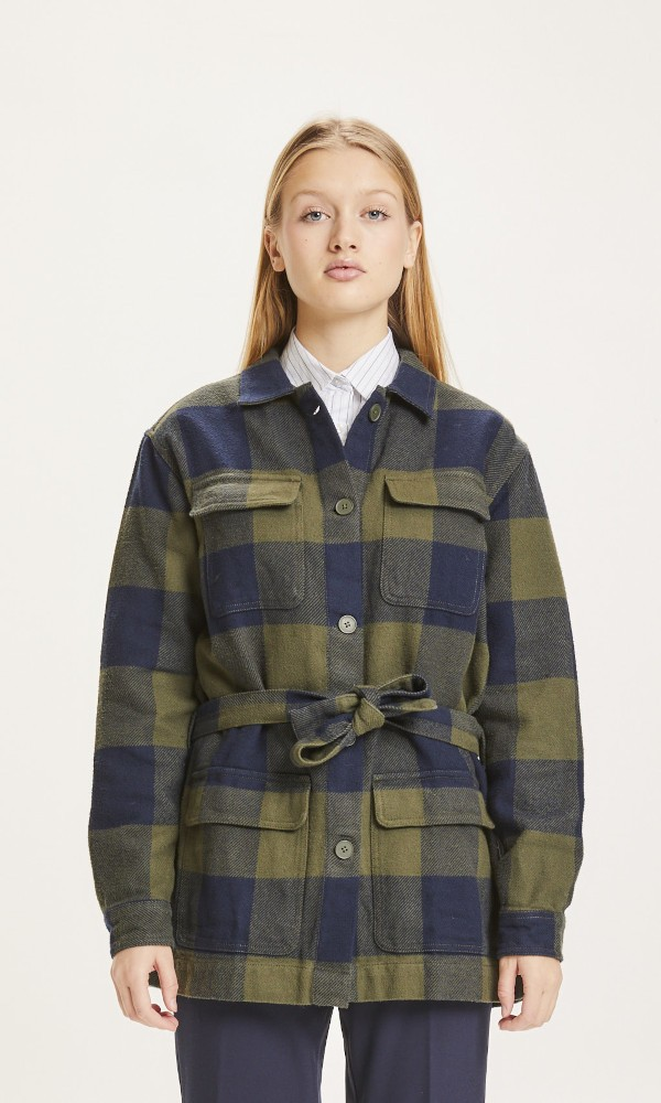 LILLIAN Flannel Pixel Check Overshirt Forrest Night