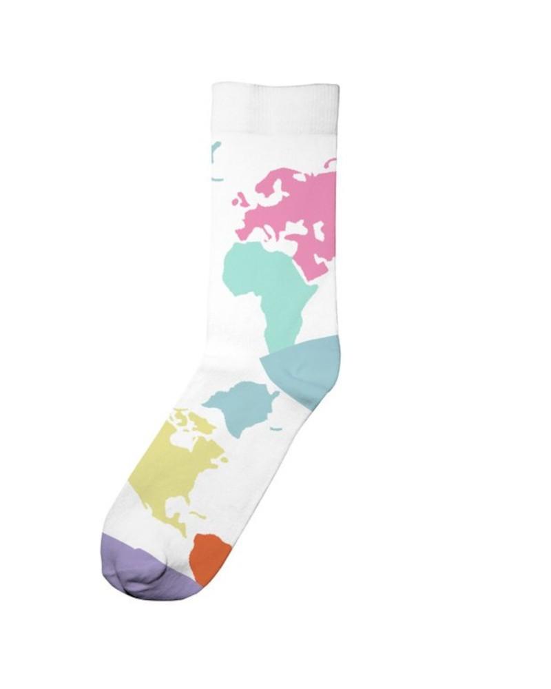 Socks Sigtuna World Map White
