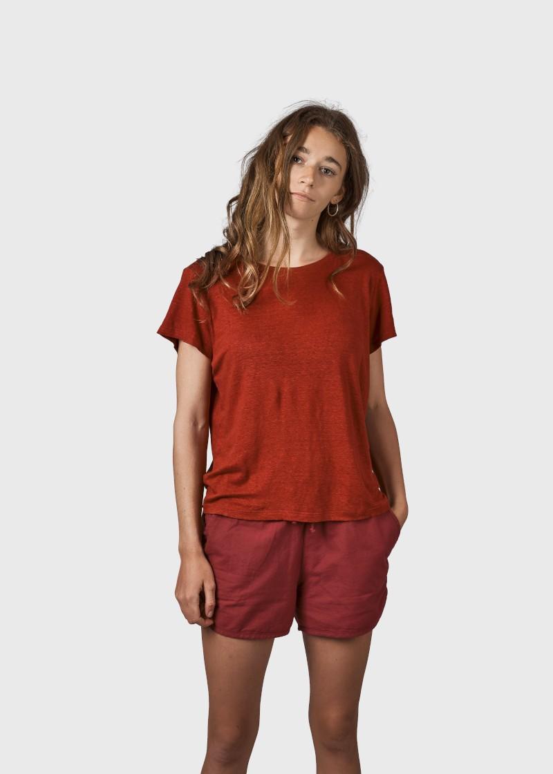Rikke linen t-shirt Clay red