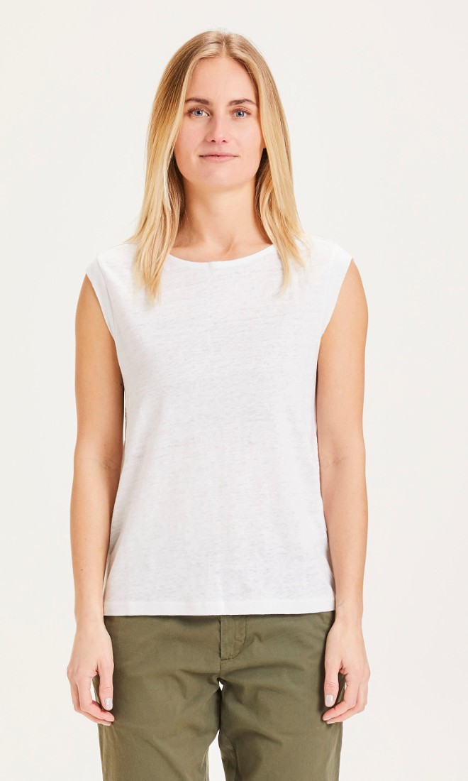 VIOLET loose fold up linen tee Bright White