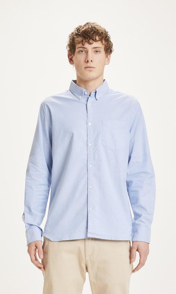 ELDER Regular fit Stretch Oxford Shirt - Vegan Lapis blue