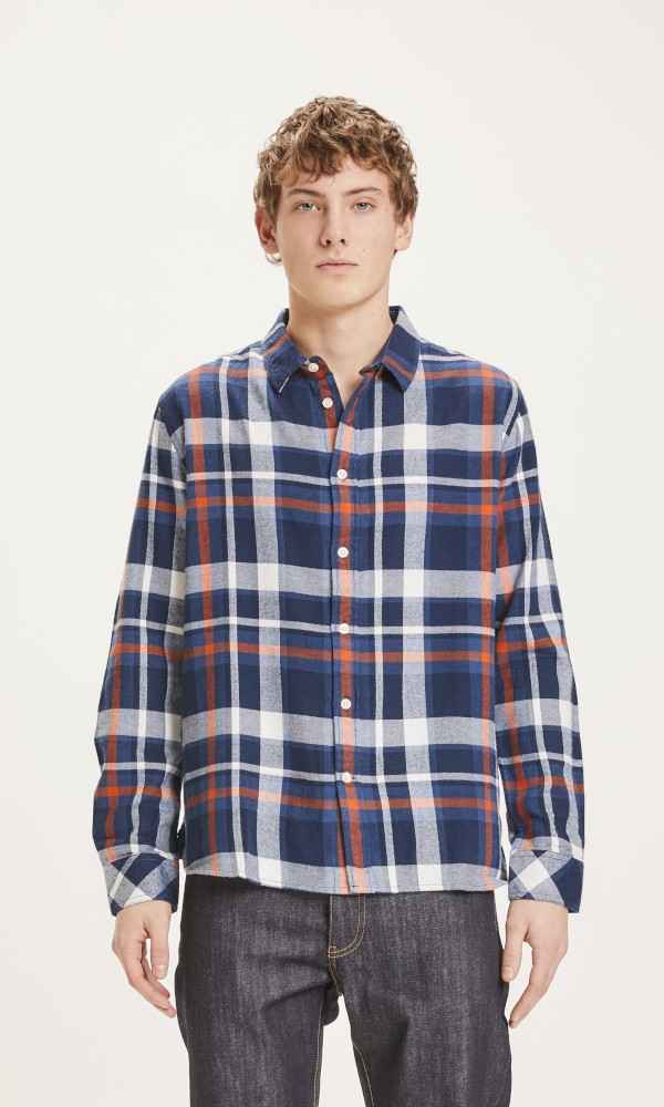 LARCH casual fit checked flannel shirt Total Eclipse
