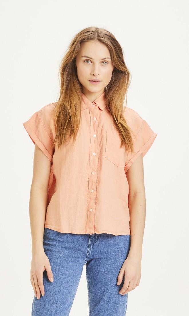 ASTER fold up short sleeve linen shirt Shimp
