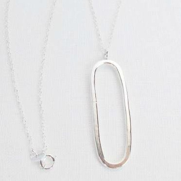 Statement Oval Necklace Recycled Sterling Silver