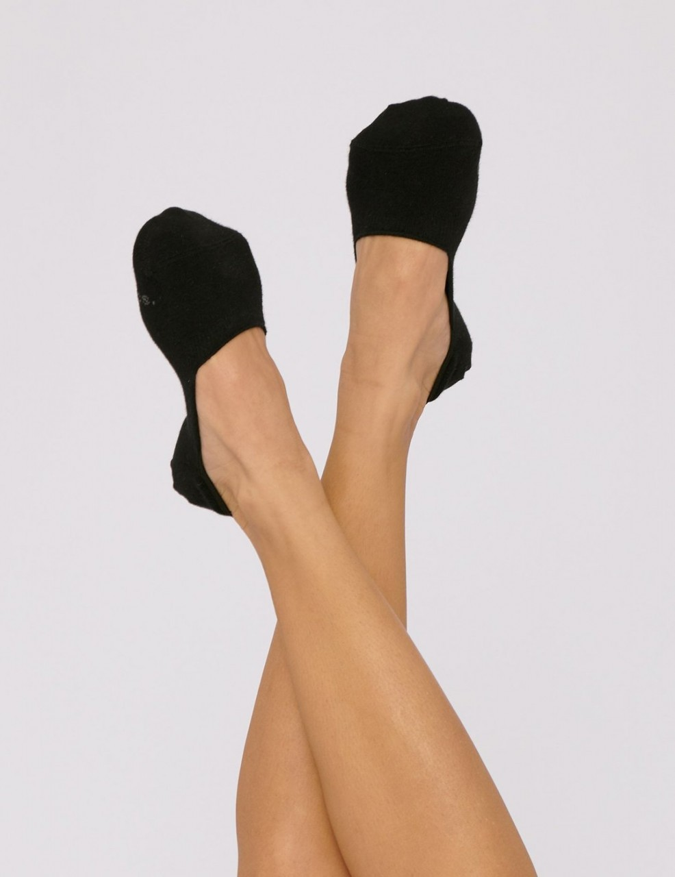 Organic Cotton No Show Socks 2-Pack - Black