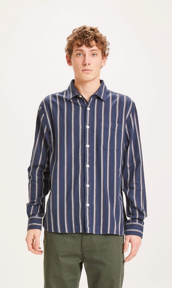 LARCH casual fit fishbone striped shirt Total Eclipse
