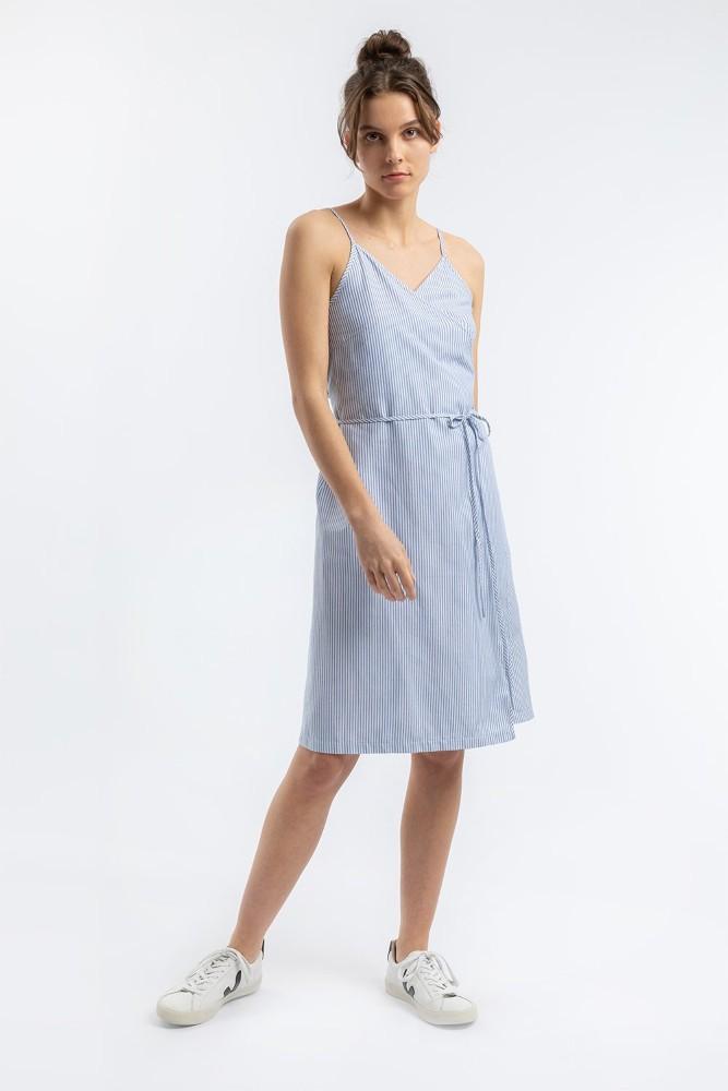 Wrap Dress Navy Oxford Stripe