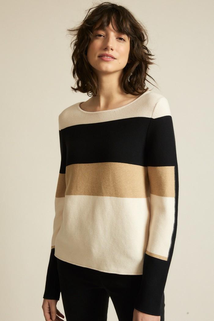 Pullover mit Colourblock powder/black
