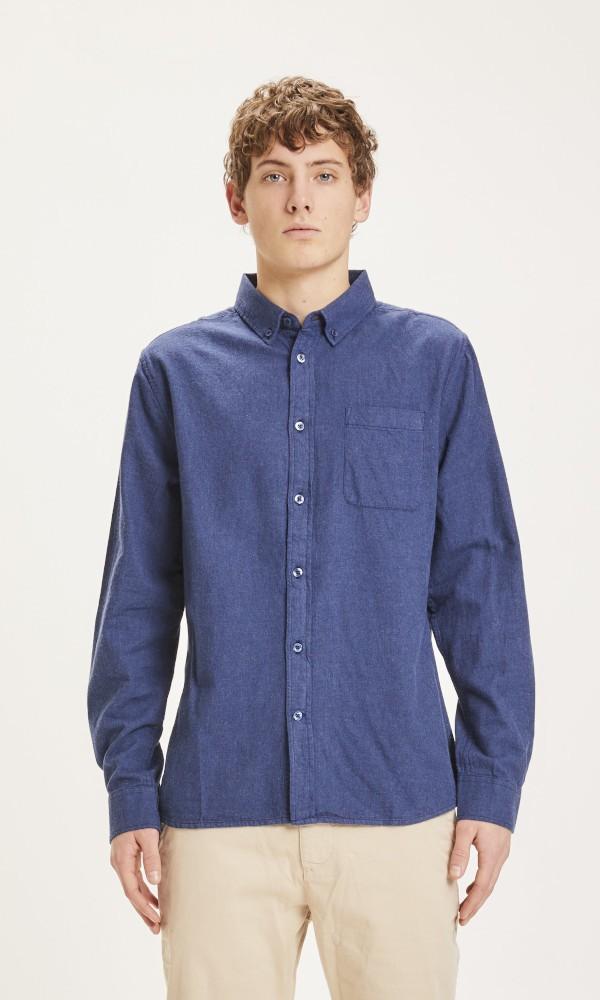 ELDER regular fit melange flannel shirt Estate Blue