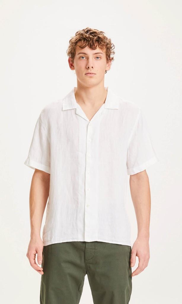 WAVE SS linen shirt - Vegan Bright White