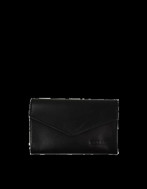 JO'S PURSE Envelope Black Classic Leather