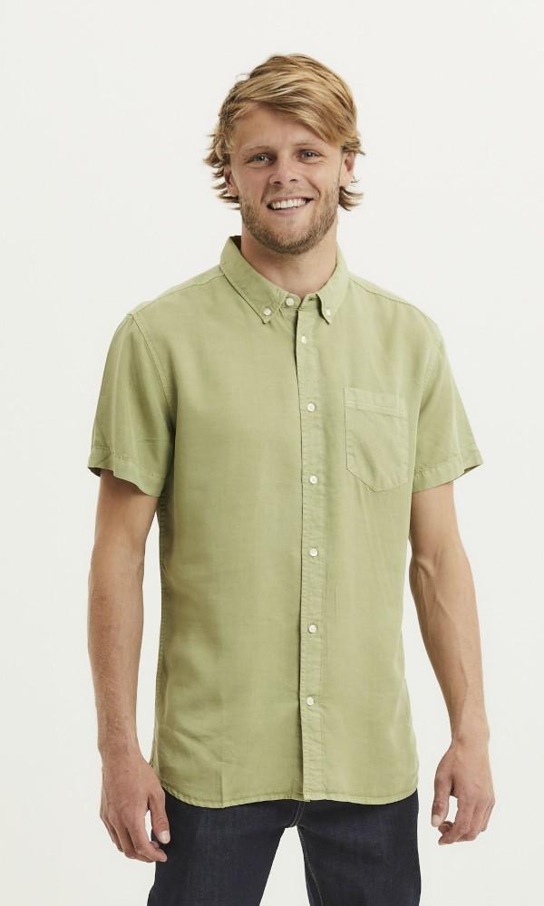 LARCH SS Tencel garment dyed shirt Sage