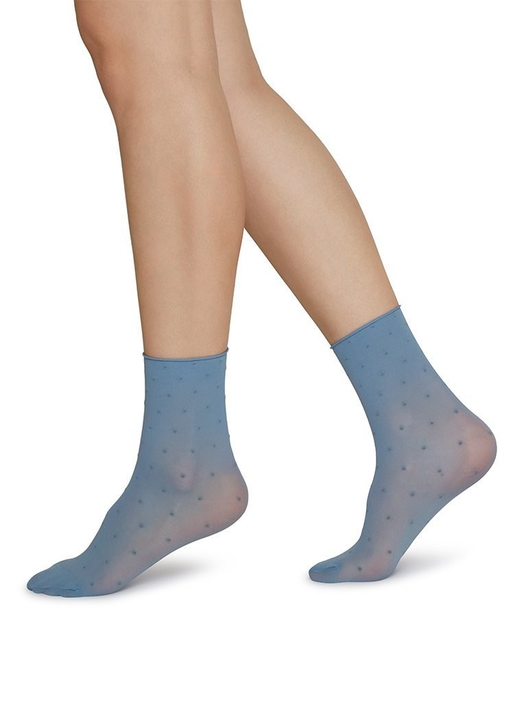 Judith Dot Socks dusty blue/ivory 2er Pack
