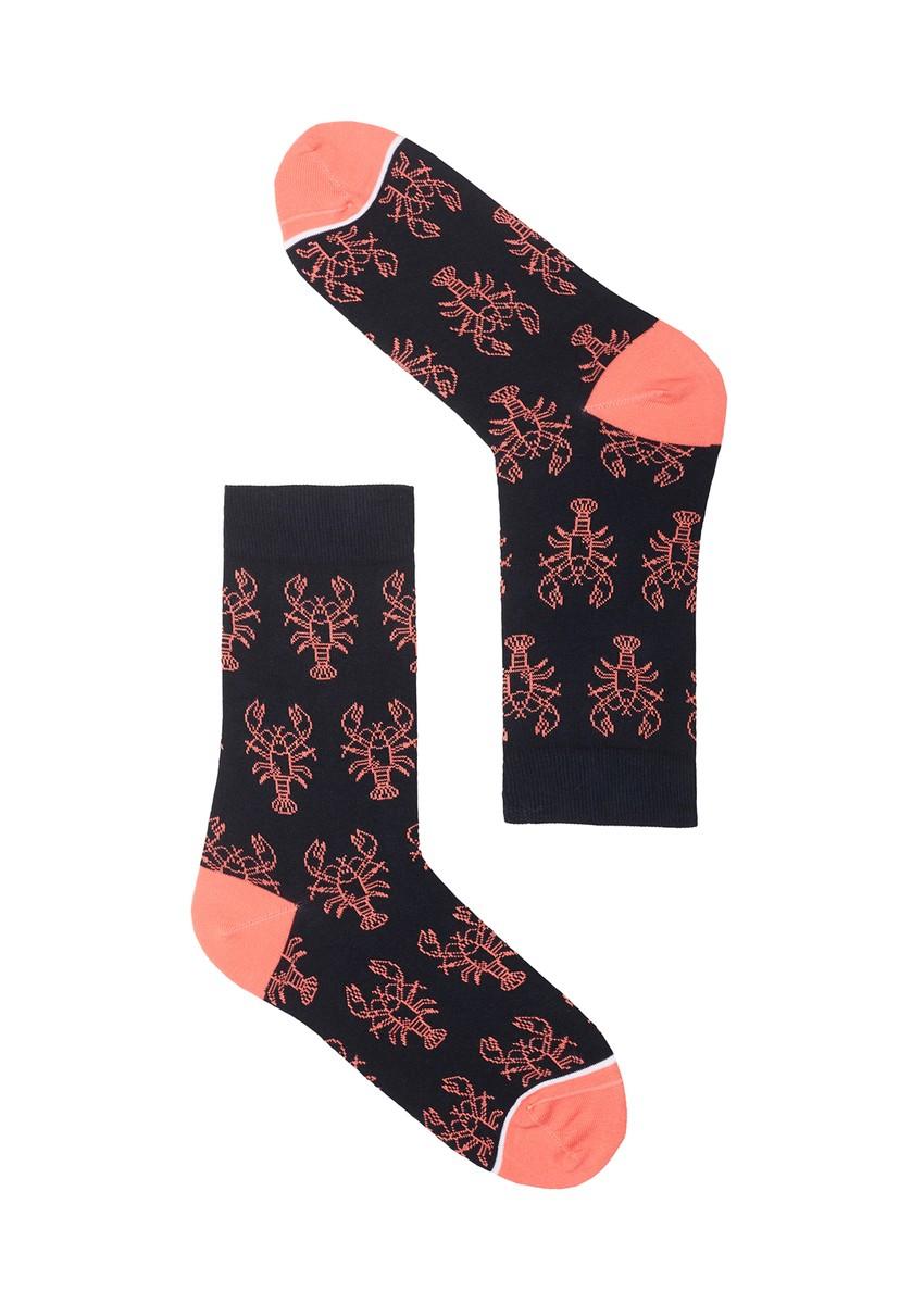 Basic Socks #LOBSTER navy / coral