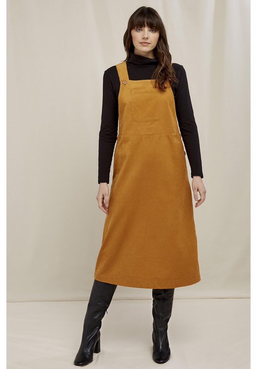 Mindy Corduroy Pinafore Dress Mustard