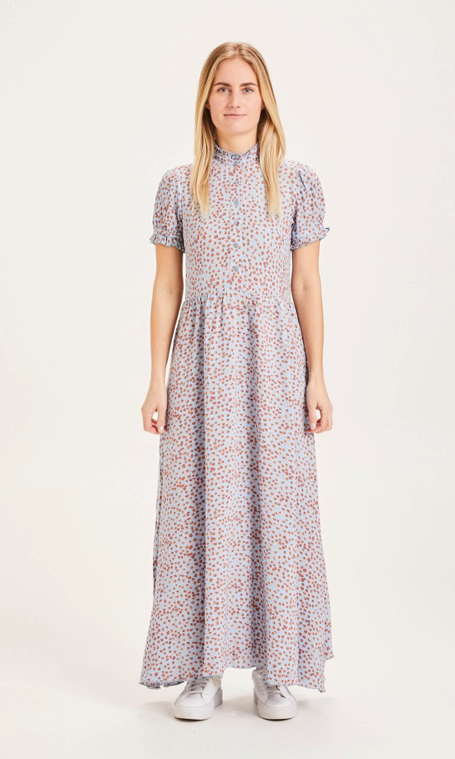 FLEUR flower print maxi Lenzing EcoVero dress Asley Blue