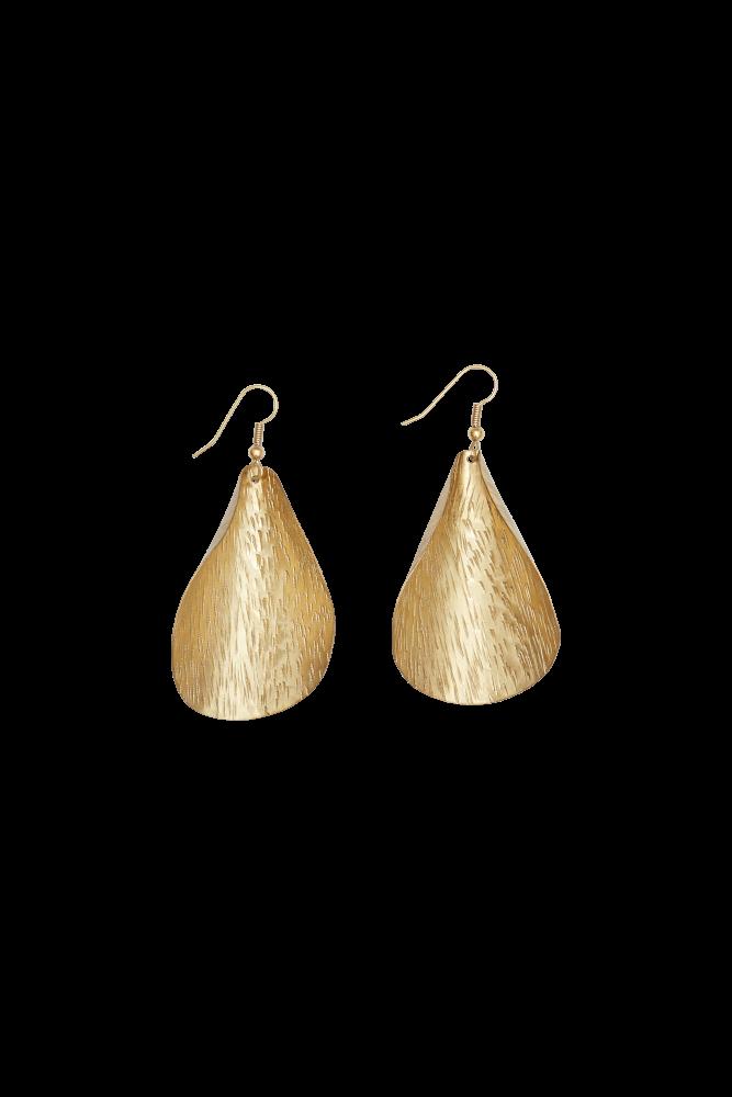 Curled Leaf Earrings Brass