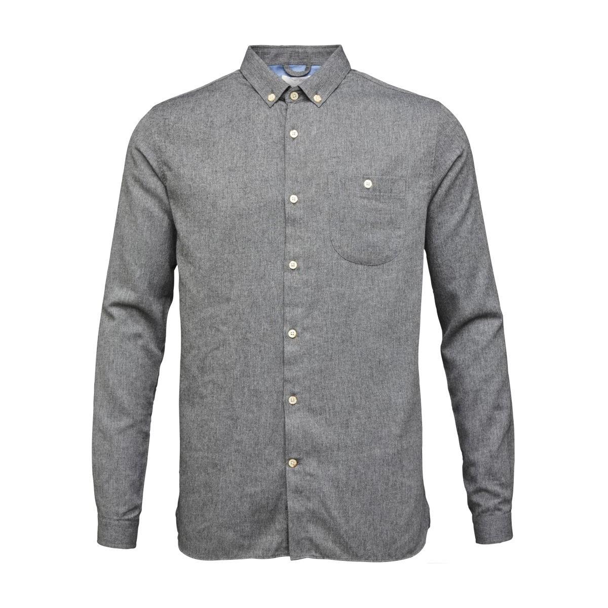 Melange Effect Flannel Shirt - Dark Grey Melange