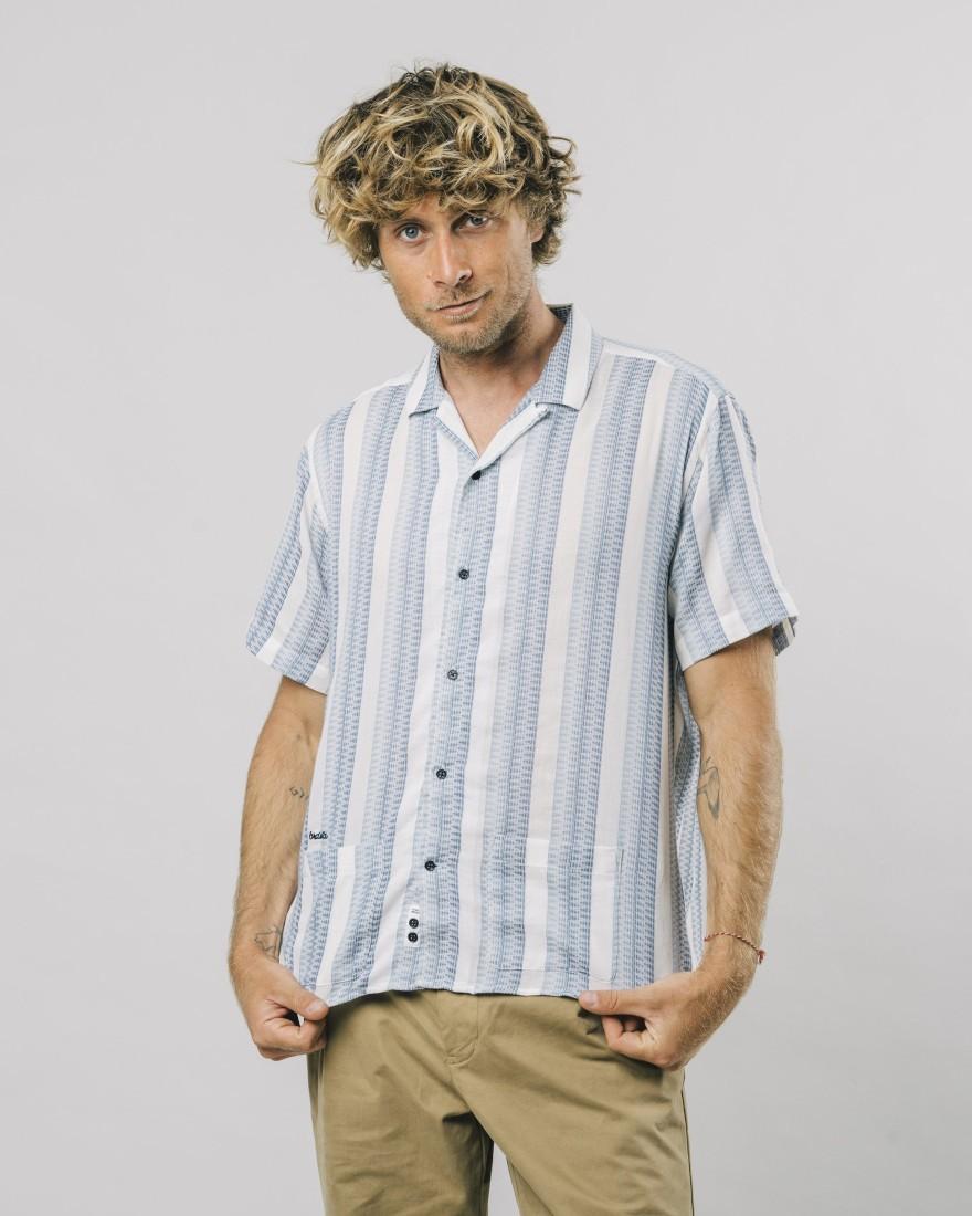 Short Sleeve Shirt Jacquard Stripe
