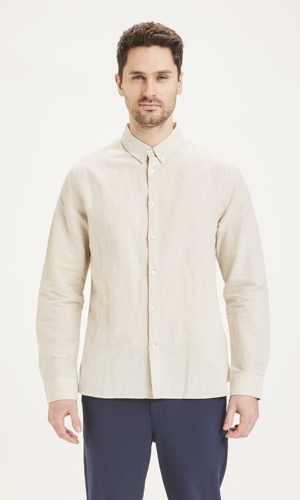LARCH LS linen shirt Light feather gray