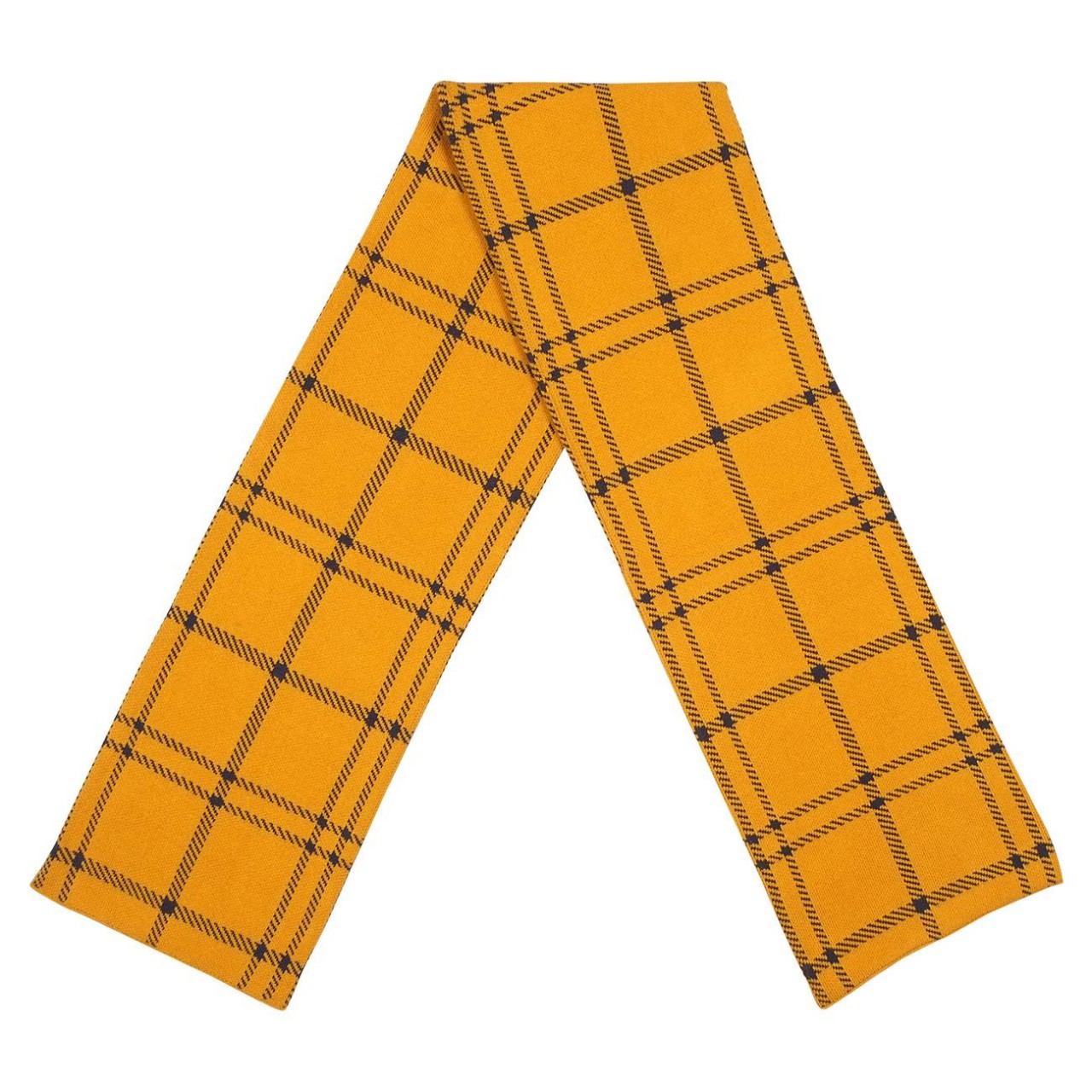 Scarf Knitted Rosse Big Check Golden Yellow