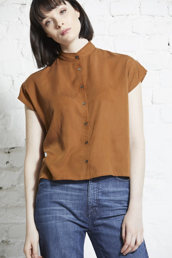 Square blouse stand collar Burned Almond