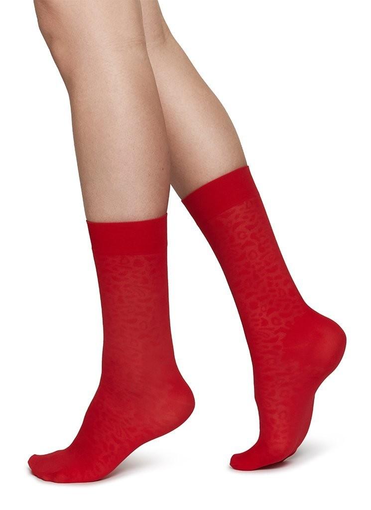 Emma Leopard Socks sharp red