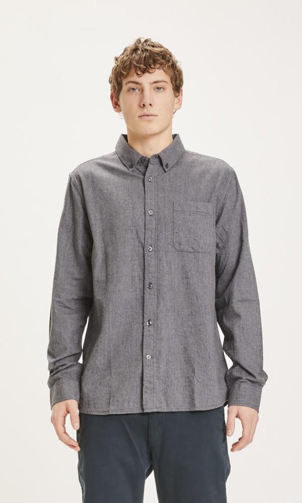 ELDER regular fit melange flannel shirt Dark Grey Melange