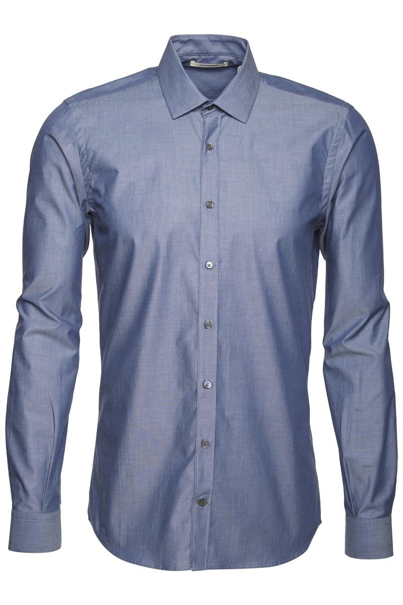 Metro shirt slim male metro blue