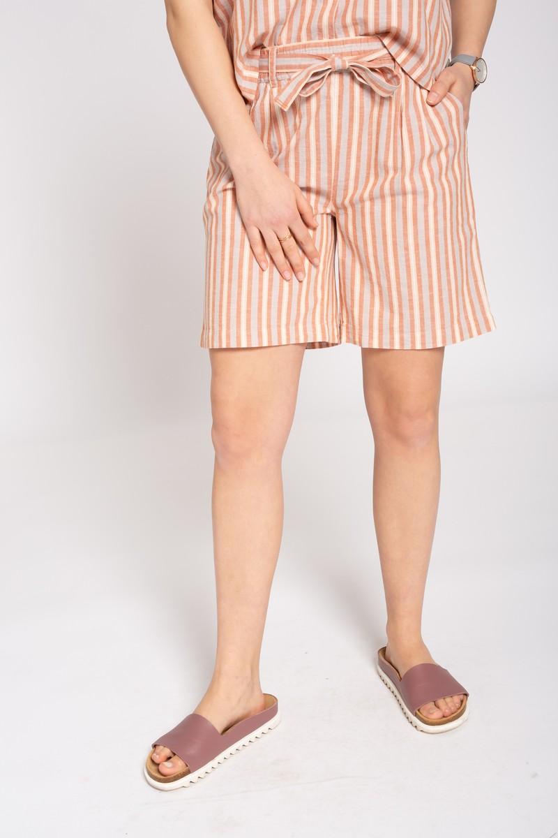 Frauen Linen Shorts STRIPES sand / coral / rose
