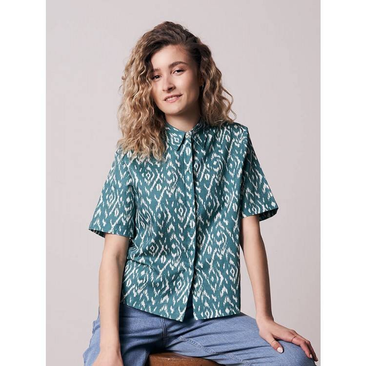 Ikatty Linen Kurzarmhemd Damen Blau