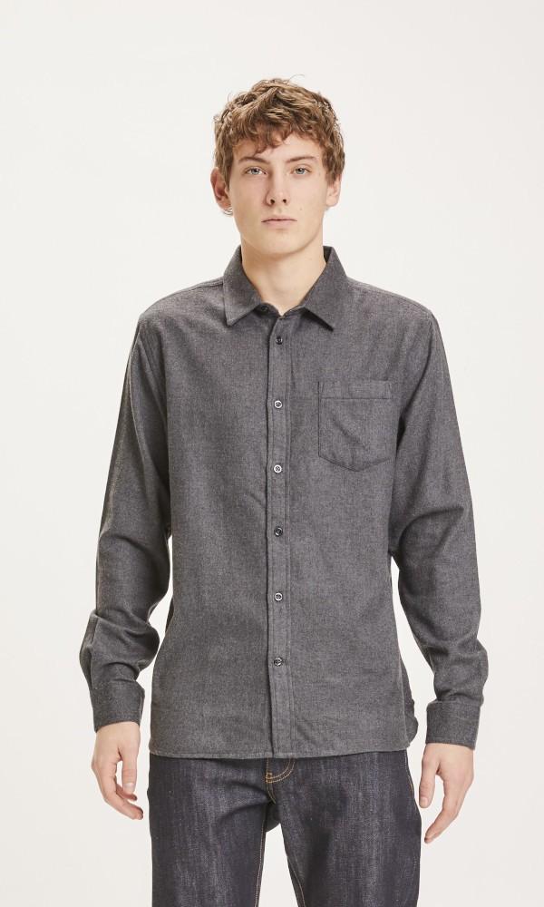 LARCH regular fit solid heavy flannel shirt Dark Grey Melange