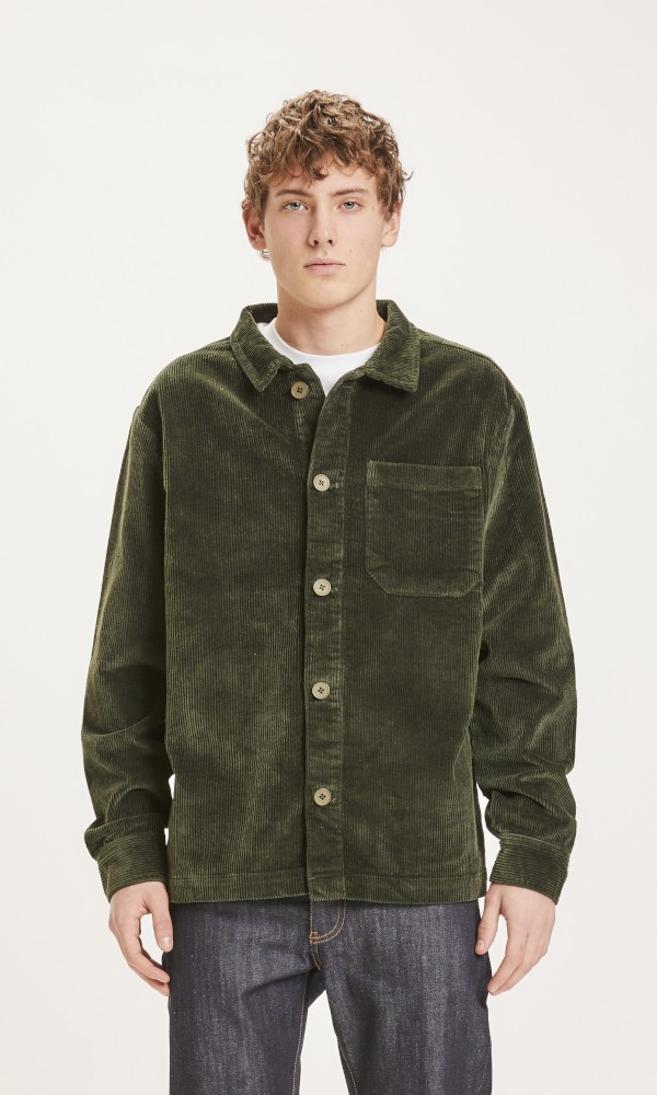 PINE stretched 8-wales corduroy overshirt Forrest Night