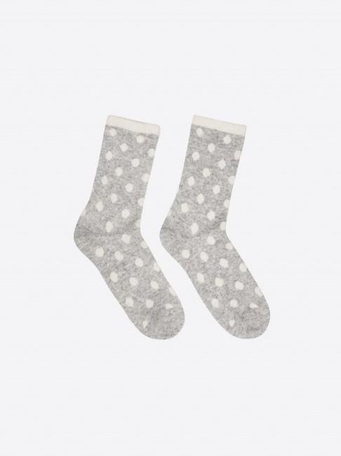 Socken mit Punkten GOTS grey melange/ off white