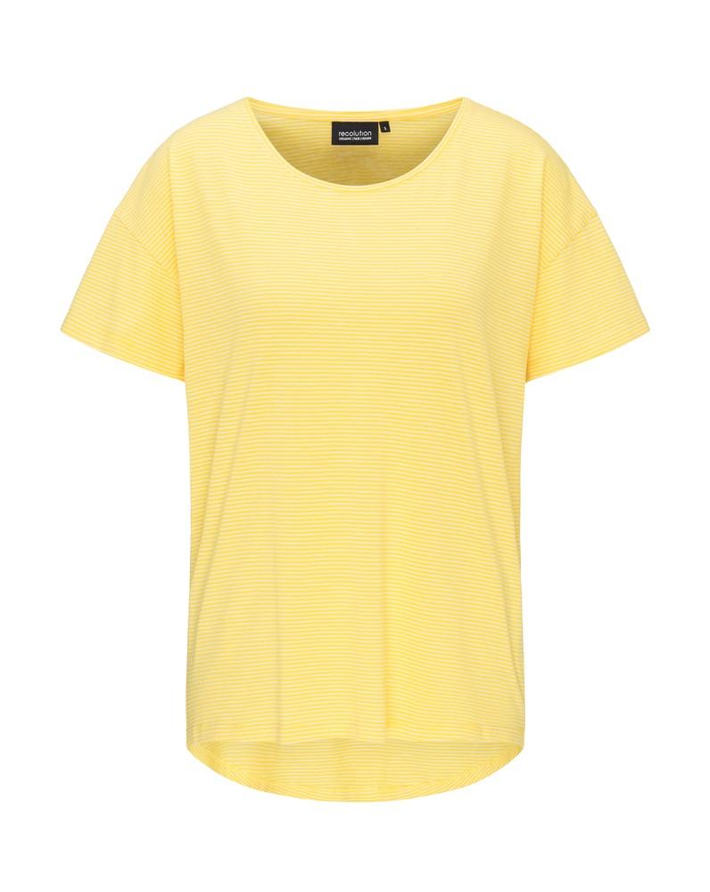 Frauen Overlap T-Shirt STRIPES sunflower / white