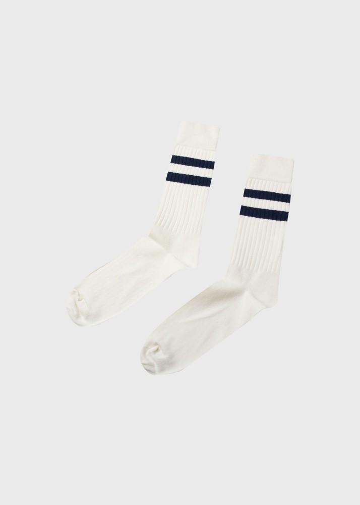 Retro cotton sock Cream/navy