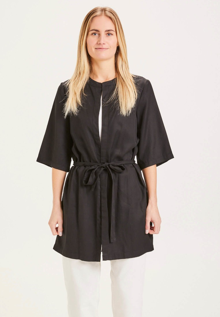 AYANA black Tencel kimono - Vegan Black Jet