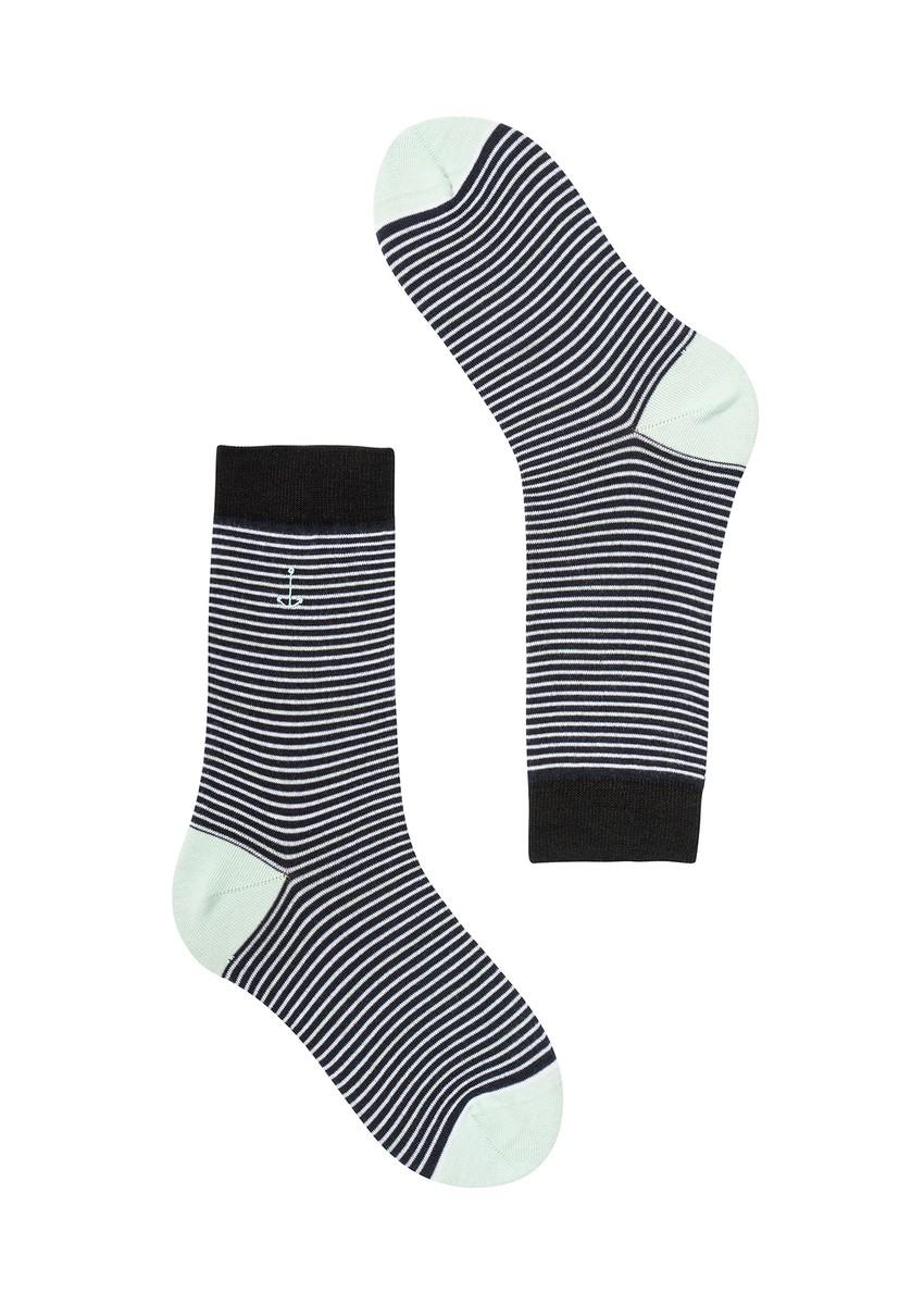 Basic Socks #STRIPES navy / white / mint